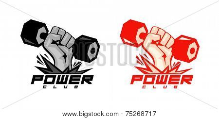 Arm with dumbbell, power symbols for body-building club.