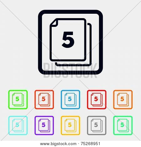 In pack 5 sheets sign icon. 5 papers symbol.
