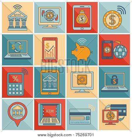 Mobile banking icons flat line