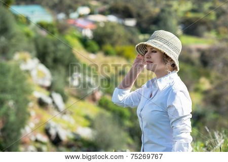 Woman  In Nature Looking Far