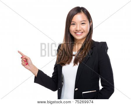 Singaporean businesswoman with finger point up