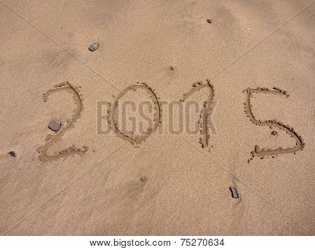New 2015 Year Numbers Drawings In The Sand