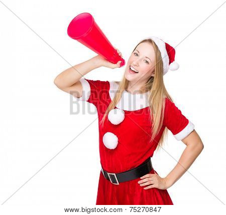 Woman with christmas costume and shout with megaphone