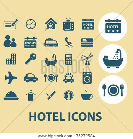 hotel, motel, services icons, signs, illustrations set, vector