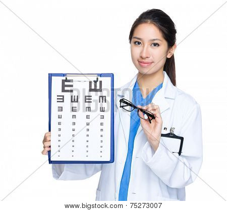 Oculist with eye chart and glasses