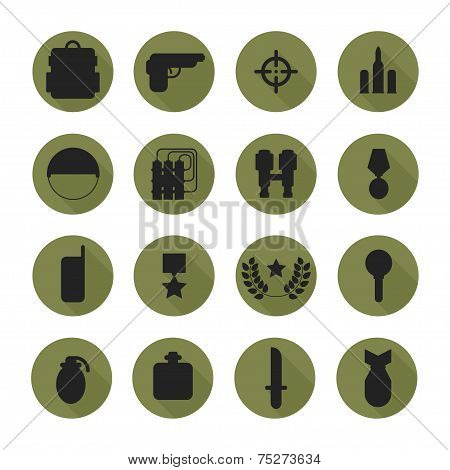 Military silhouette pictogram and war icons set with long shadow. Army infographic design elements.