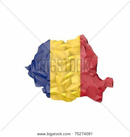 Low Poly Romania Map With National Flag