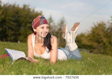 Fashion Woman Rest In The Park
