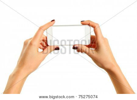 Hands holding mobile phone isolated on white