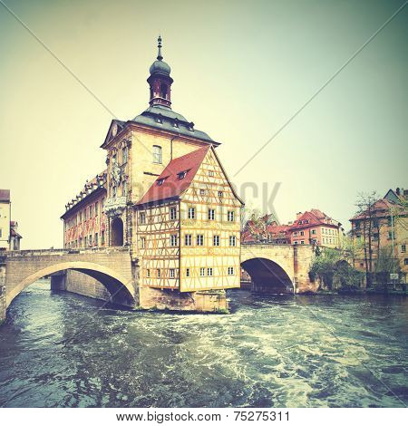 Town hall  in Bamberg, Germany. Instagram style filtred image