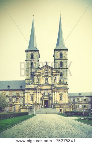 Former Benedictine monastery in Bamberg, Germany. Instagram style filtred image