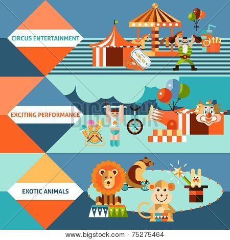 Circus icons flat banner set