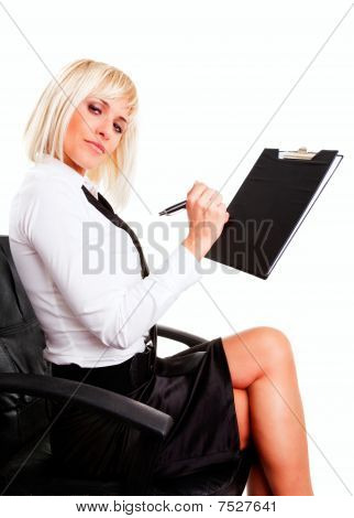 Businesswoman Sitting And Holding Documents