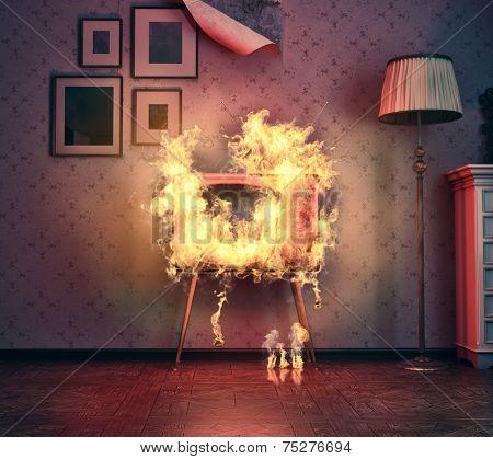 retro TV burning in old room. 3d illustration concept