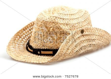Stetson, Straw Hat  Of Cowboy Isolated On White