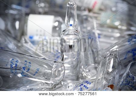 Medical Glass. Whole And Broken.