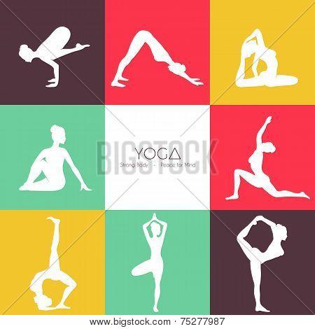 Yoga poses silhouette set