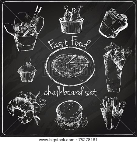 Fast food icon chalkboard