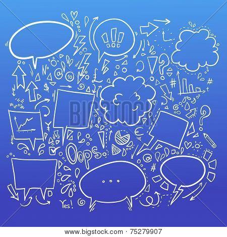 Hand Drawn Sketch Illustration - Speech Bubbles