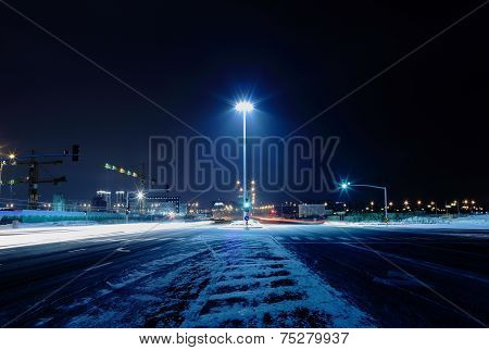 Dark Cold Night Street