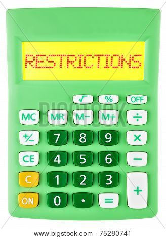 Calculator With Restrictions On Display