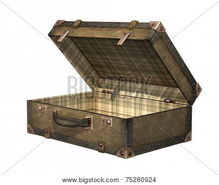Open old suitcase. Isolated on white background