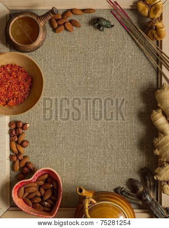 Nuts, saffron and incense with a copy space