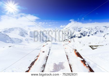 Skiing , mountains and ski equipments