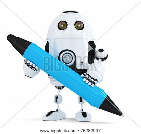 Robot With Pen. Isolated On White. Contains Clipping Path