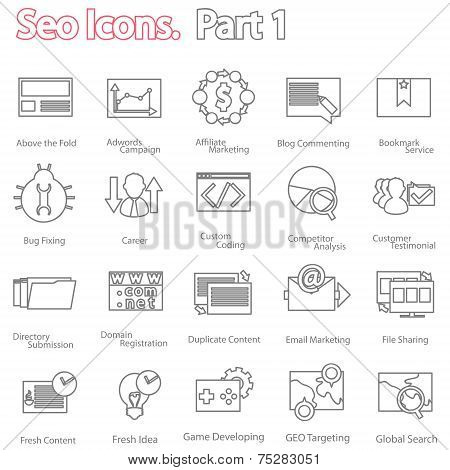 seo icons set part 1. line design modern vector illustration