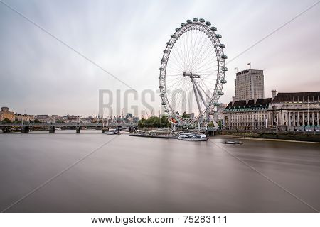 South Bank Of The River Thames And London Skyline In The Morning, United Kingdom