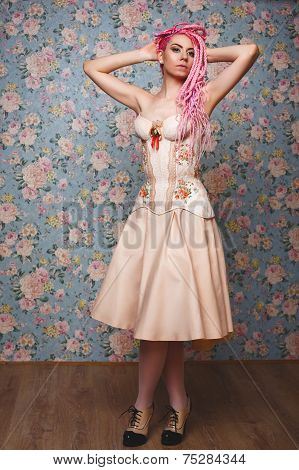 Freaky Young Female Model Wearing Corset