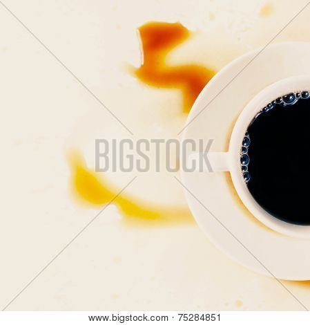 Cup Of Morning Coffee With Stains