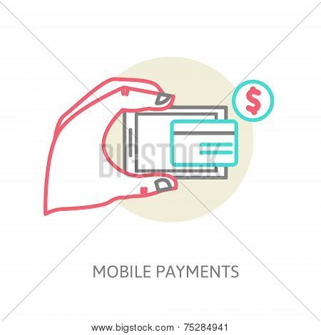 line design illustration in  modern stylish processing of mobile payments concept