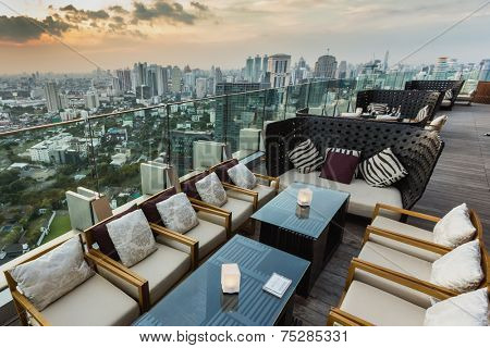 BANGKOK, THAILAND - NOV 29, 2013: View from the top of Octave Bar in Bangkok, Thailand. The Octave bar is located in the Thong Lor district near sukhumvit road.