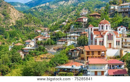 Panoramic View Of The Village Moutoullas. Nicosia District. Cyprus