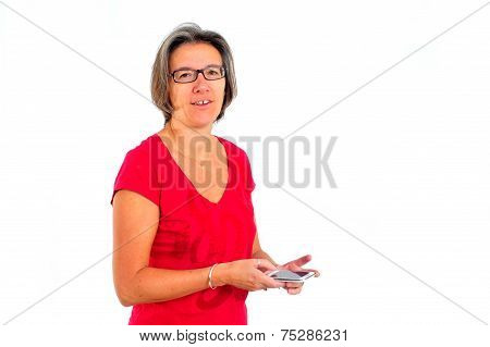 Woman In Red T Shirt On Smartphone In Studio