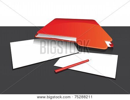 red folder with paper and pen