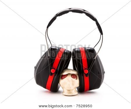 Earmuffs over small ceramic head