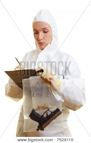 Forensic Scientist With Clipboard