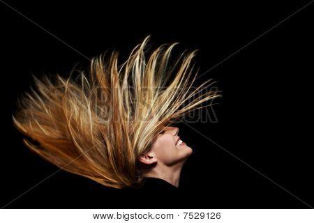 Long Flying Blonde Hair