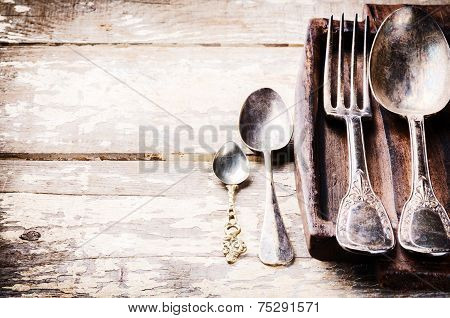 Table Setting With Vintage Cutlery