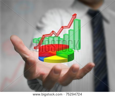 Businessman Hand Holding 3D Infographics Overlapped