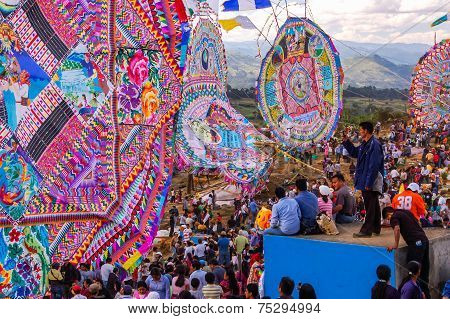 Crowds & Giant Kites In Cemetery, All Saints' Day, Guatemala