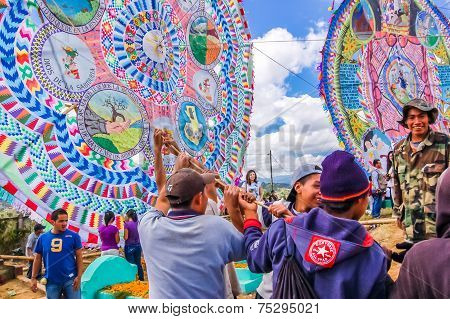 Raising A Giant Kite, All Saints' Day, Guatemala