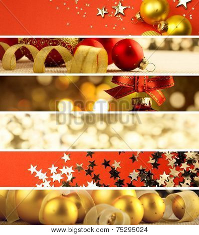 Set of Different Christmas Banners - decorations background