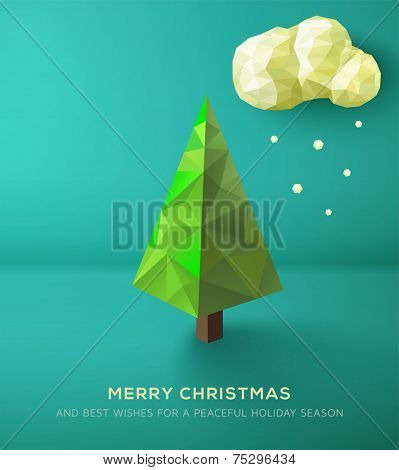 Christmas Card. Geometric polygonal tree against green landscape. Vector Illustration