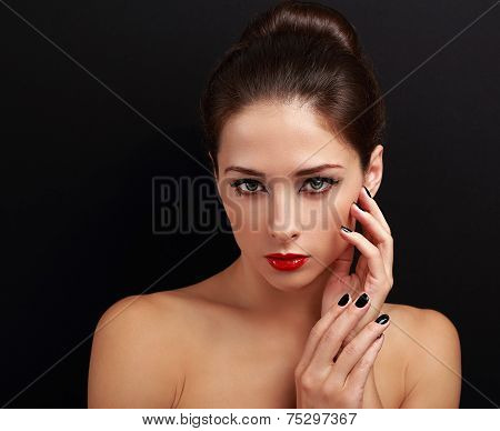 Beautiful Woman With Hairstyle, Red Bright Lips And Black Nails