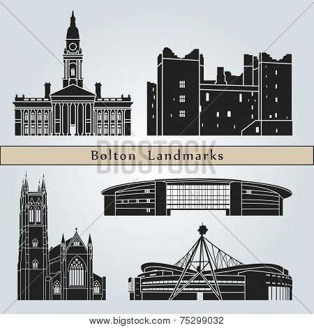 Постер, плакат: Bolton Landmarks And Monuments, холст на подрамнике