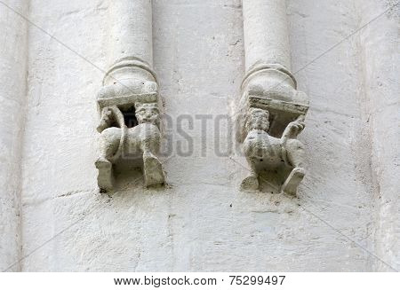 Decorations On Walls Of Church Intercession Of Holy Virgin On Nerl River. Russia
